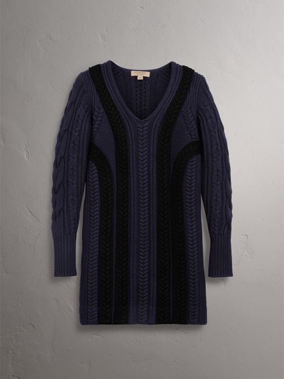 Cable Knit Wool Cashmere Sweater Dress in Navy - Women | Burberry - cell image 3