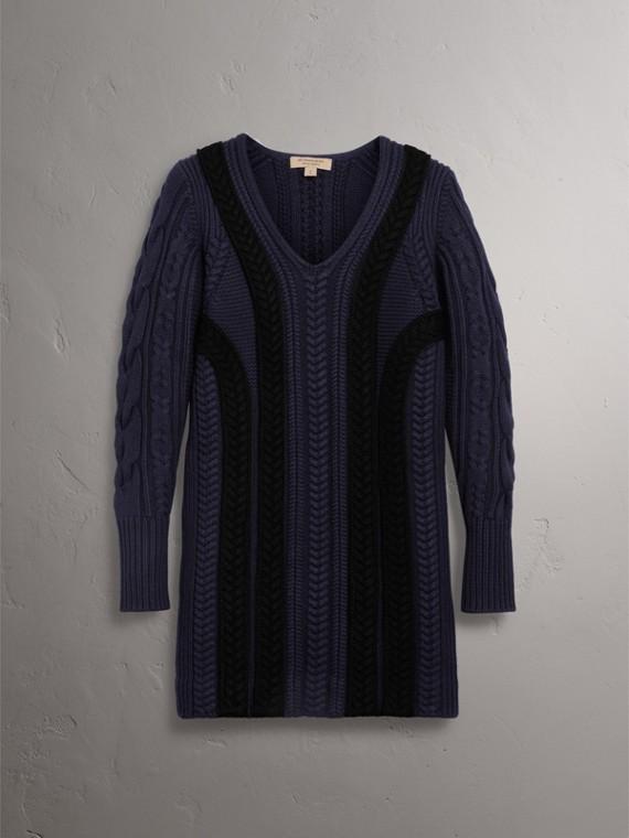 Vestido estilo suéter de lã e cashmere em ponto trançado (Azul Marinho) - Mulheres | Burberry - cell image 3