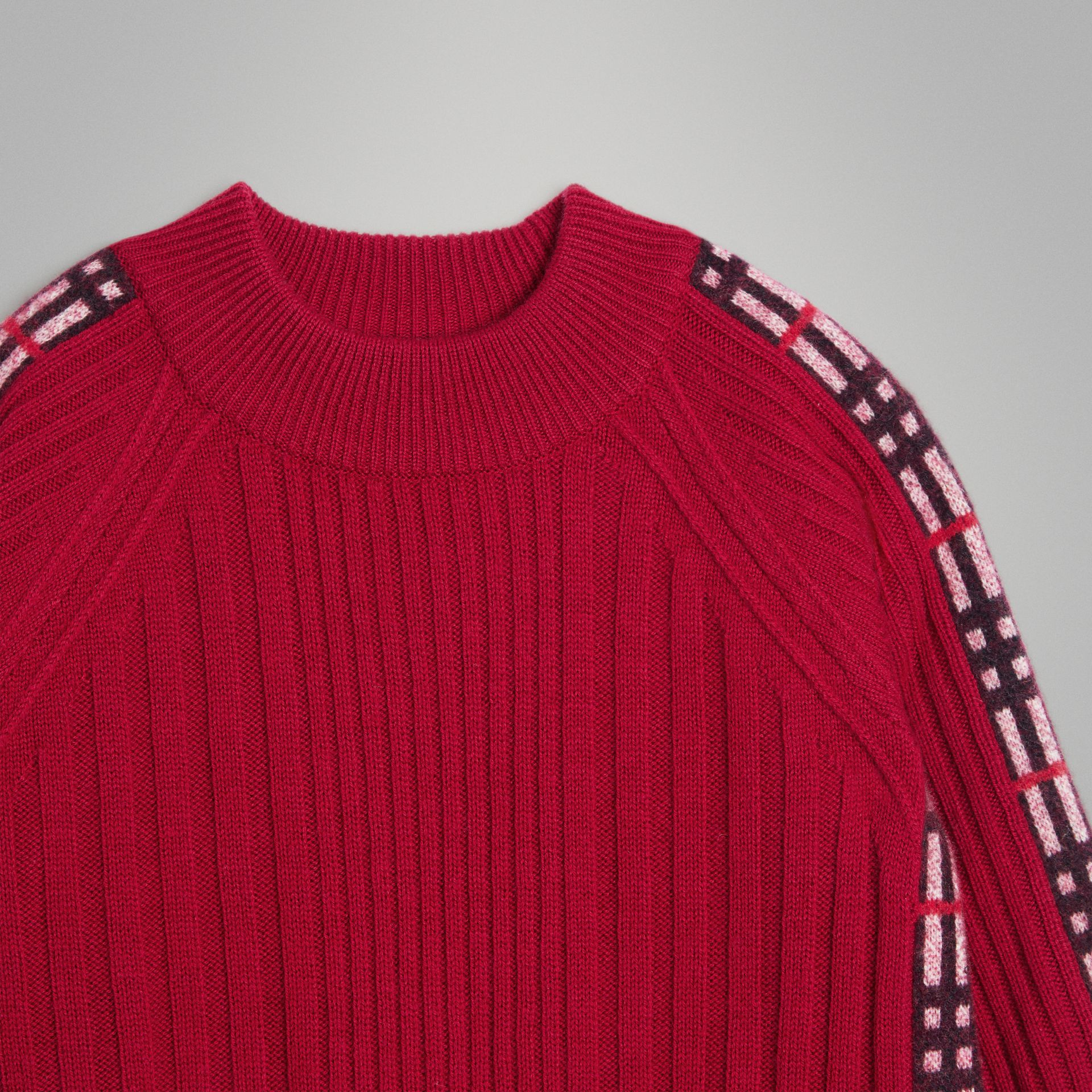 Check Detail Wool Cashmere Dress in Burgundy Red | Burberry Australia - gallery image 4