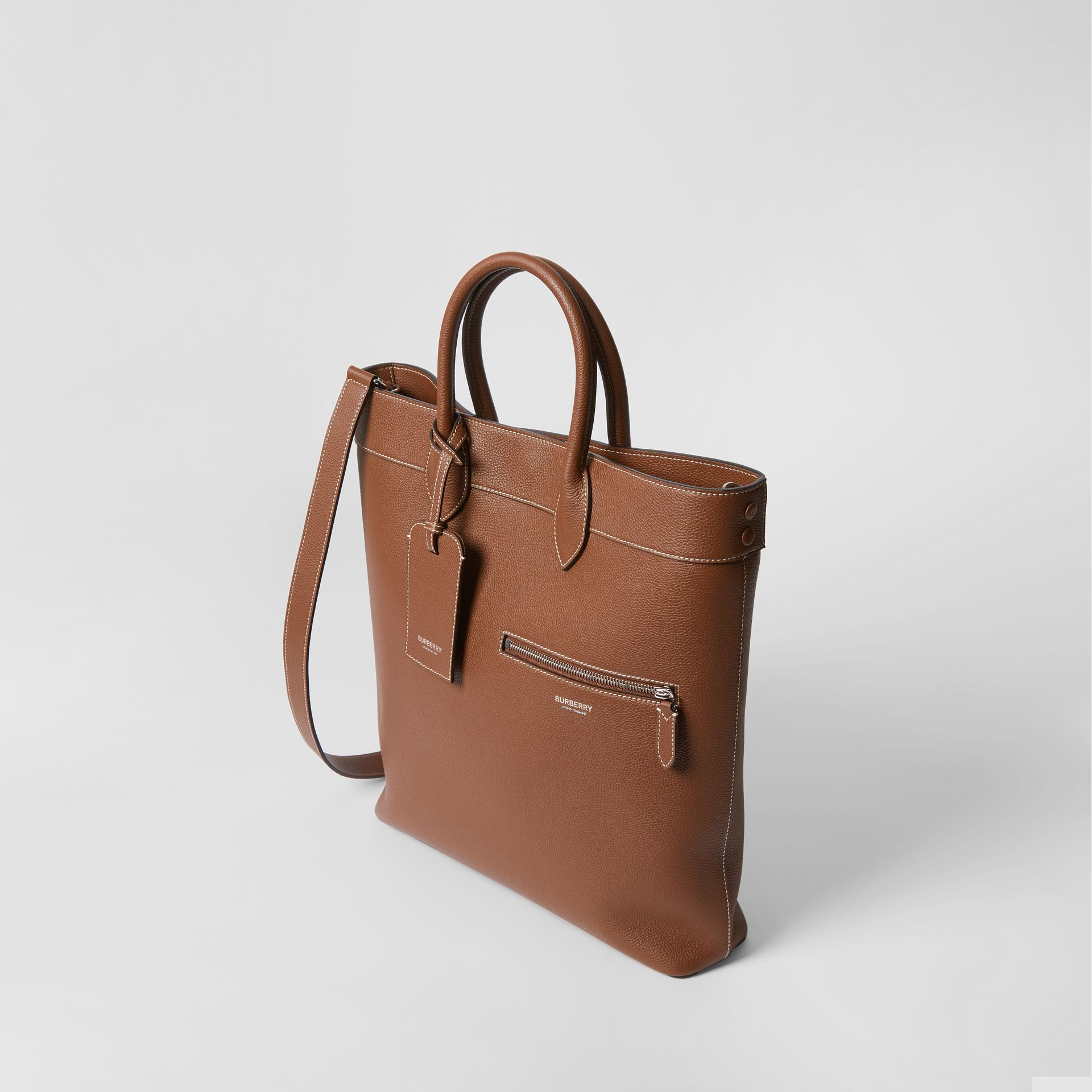 Grainy Leather Tote in Tan | Burberry - gallery image 4