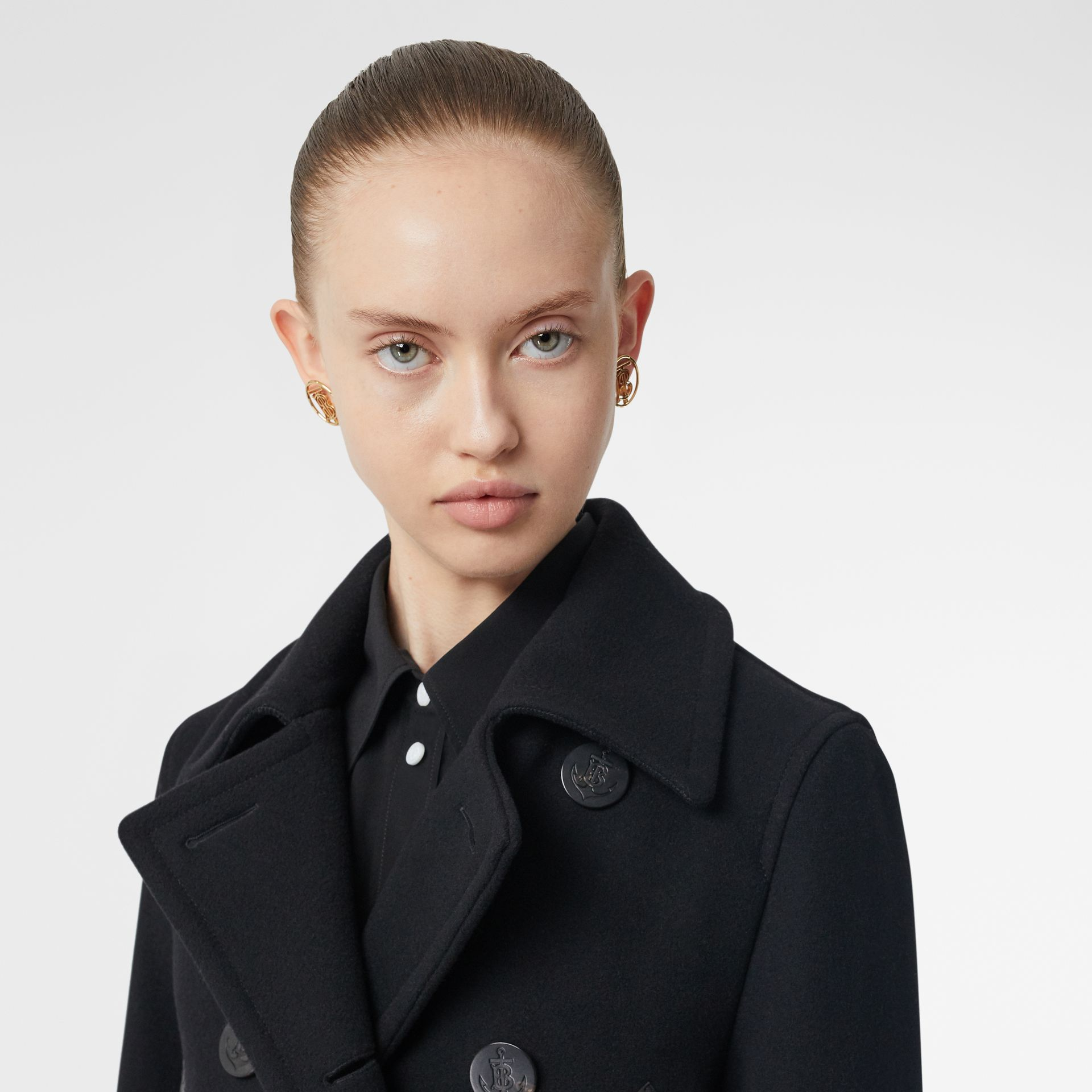 Lambskin Pocket Wool Blend Pea Coat in Black - Women | Burberry - gallery image 7
