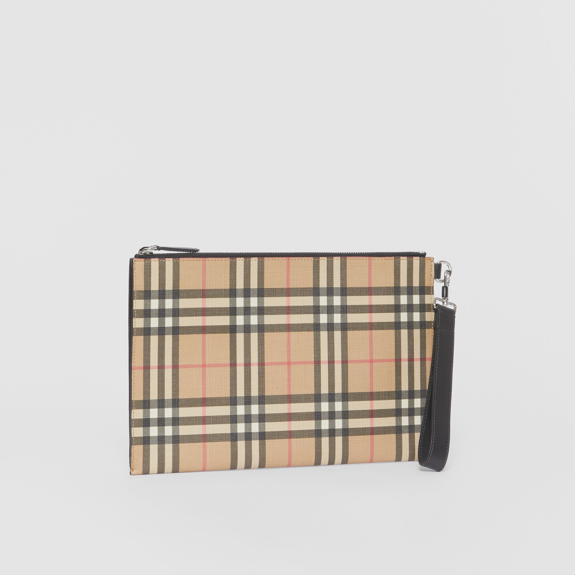 Vintage Check E-canvas and Leather Zip Pouch in Archive Beige - Men | Burberry - gallery image 5