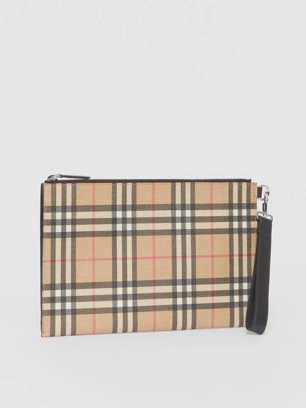 Vintage Check E-canvas and Leather Zip Pouch in Archive Beige - Men | Burberry - cell image 3