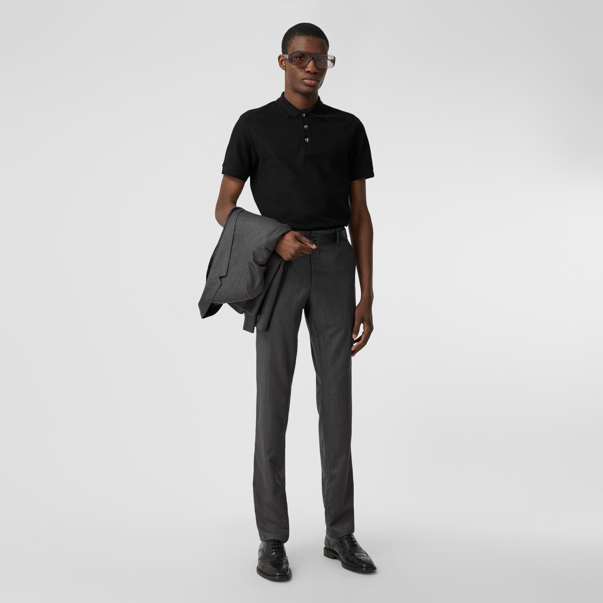 Cotton Piqué Polo Shirt in Black - Men | Burberry - gallery image 4