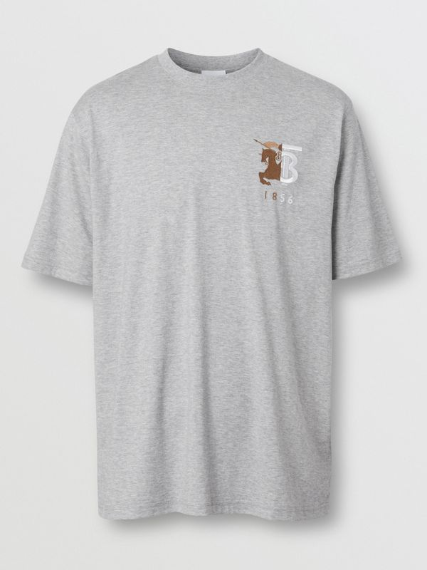 Contrast Logo Graphic Cotton T-shirt in Pale Grey Melange - Men | Burberry - cell image 3