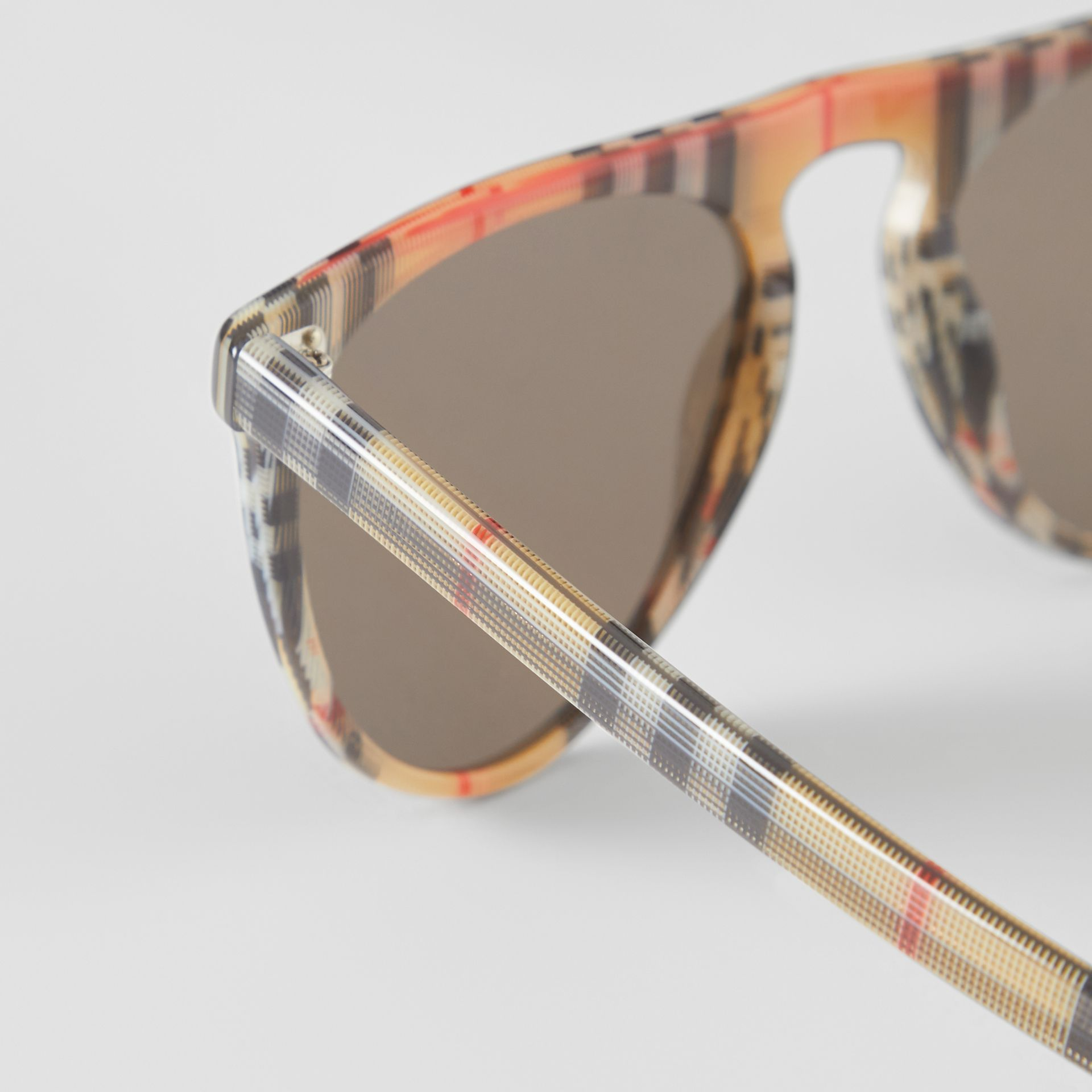 Vintage Check Keyhole D-shaped Sunglasses in Antique Yellow - Men | Burberry United Kingdom - gallery image 1