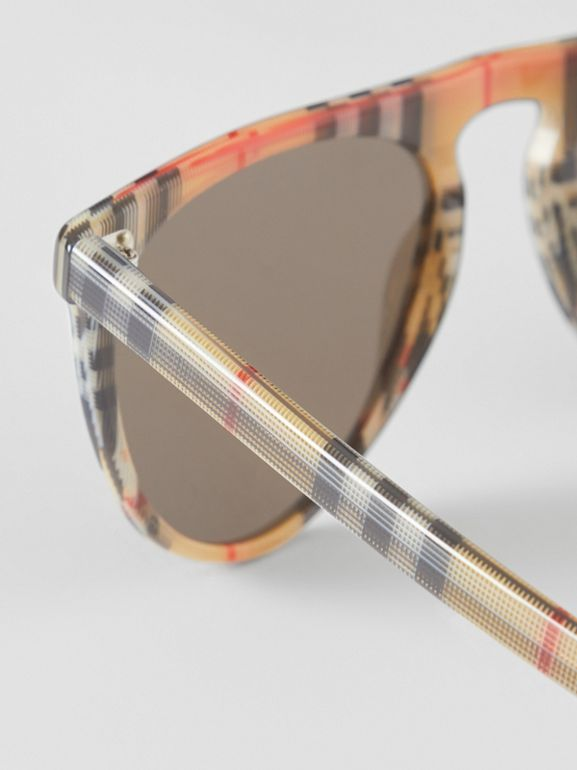 Vintage Check Keyhole D-shaped Sunglasses in Antique Yellow - Men | Burberry United Kingdom - cell image 1