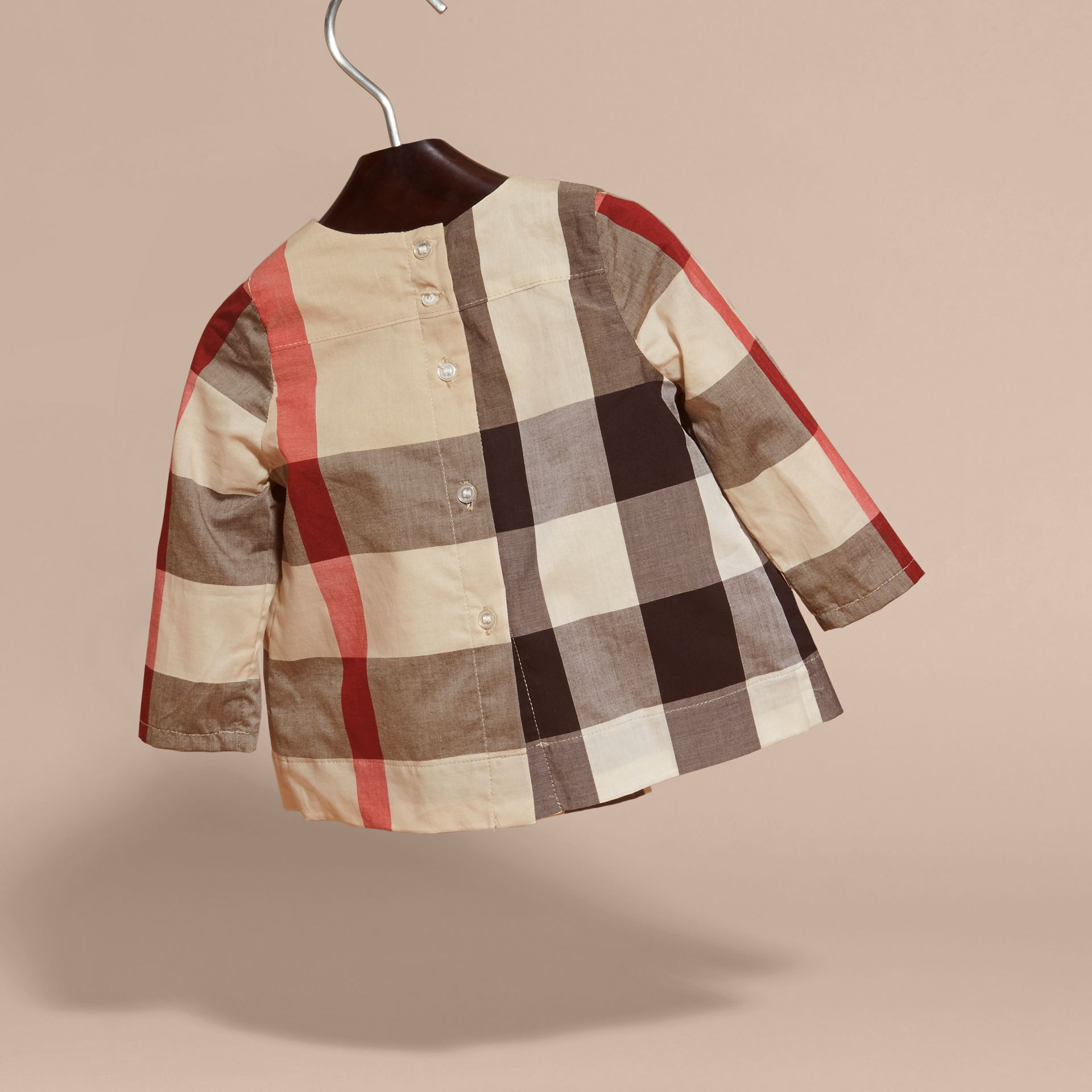 New classic check Collarless Check Cotton Blouse - gallery image 4