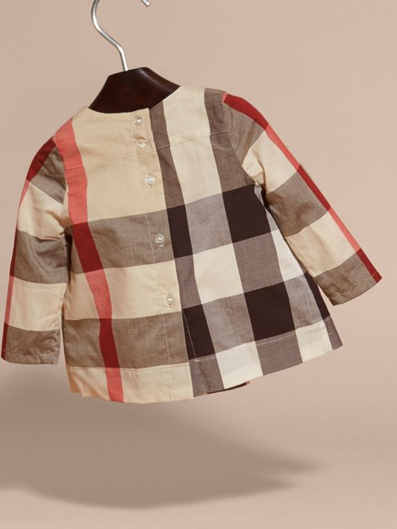 Collarless Check Cotton Blouse - cell image 3