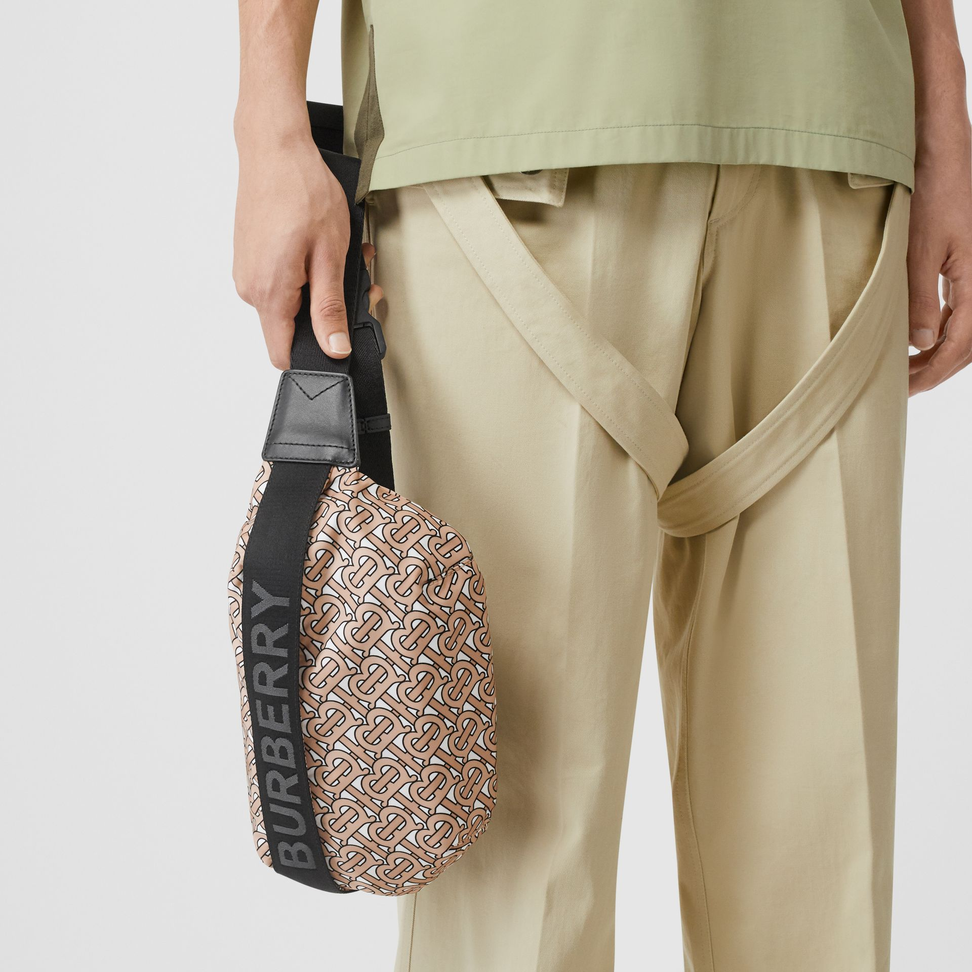 Medium Monogram Print Bum Bag in Beige | Burberry Australia - gallery image 3