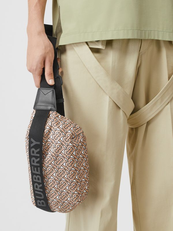 Medium Monogram Print Bum Bag in Beige | Burberry Australia - cell image 3