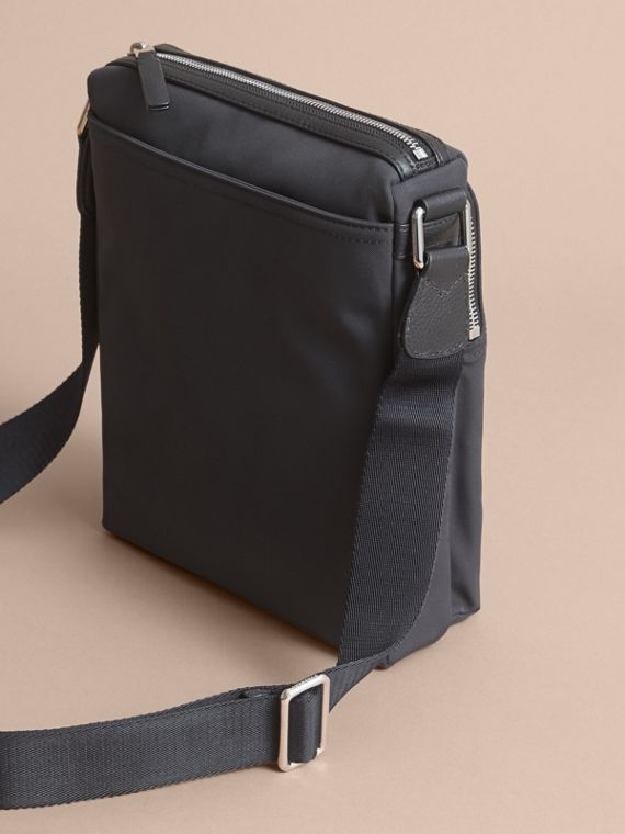 Small Technical Crossbody Bag with Leather Trim in Black - Men | Burberry - cell image 3