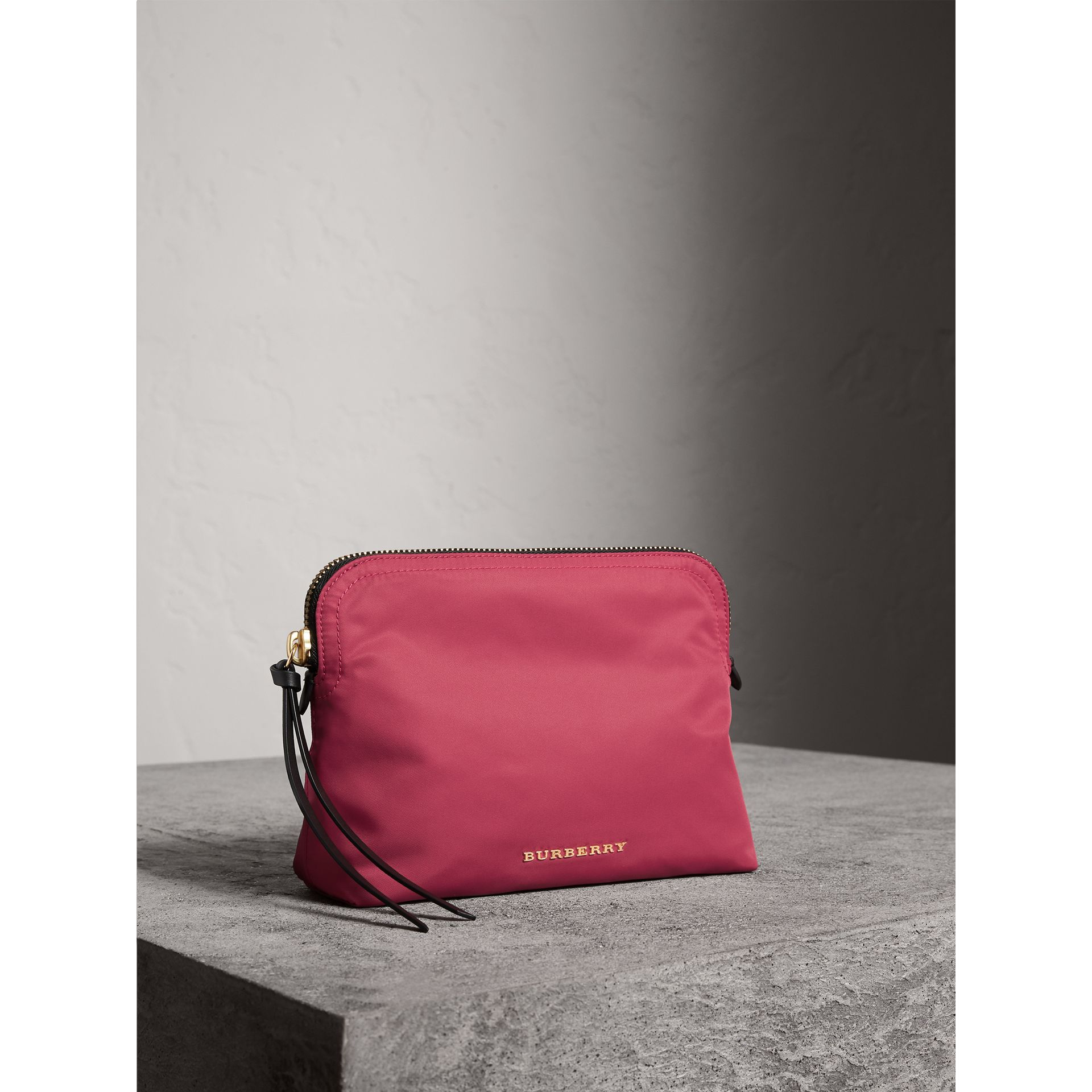 Large Zip-top Technical Nylon Pouch in Plum Pink - Women | Burberry Australia - gallery image 6
