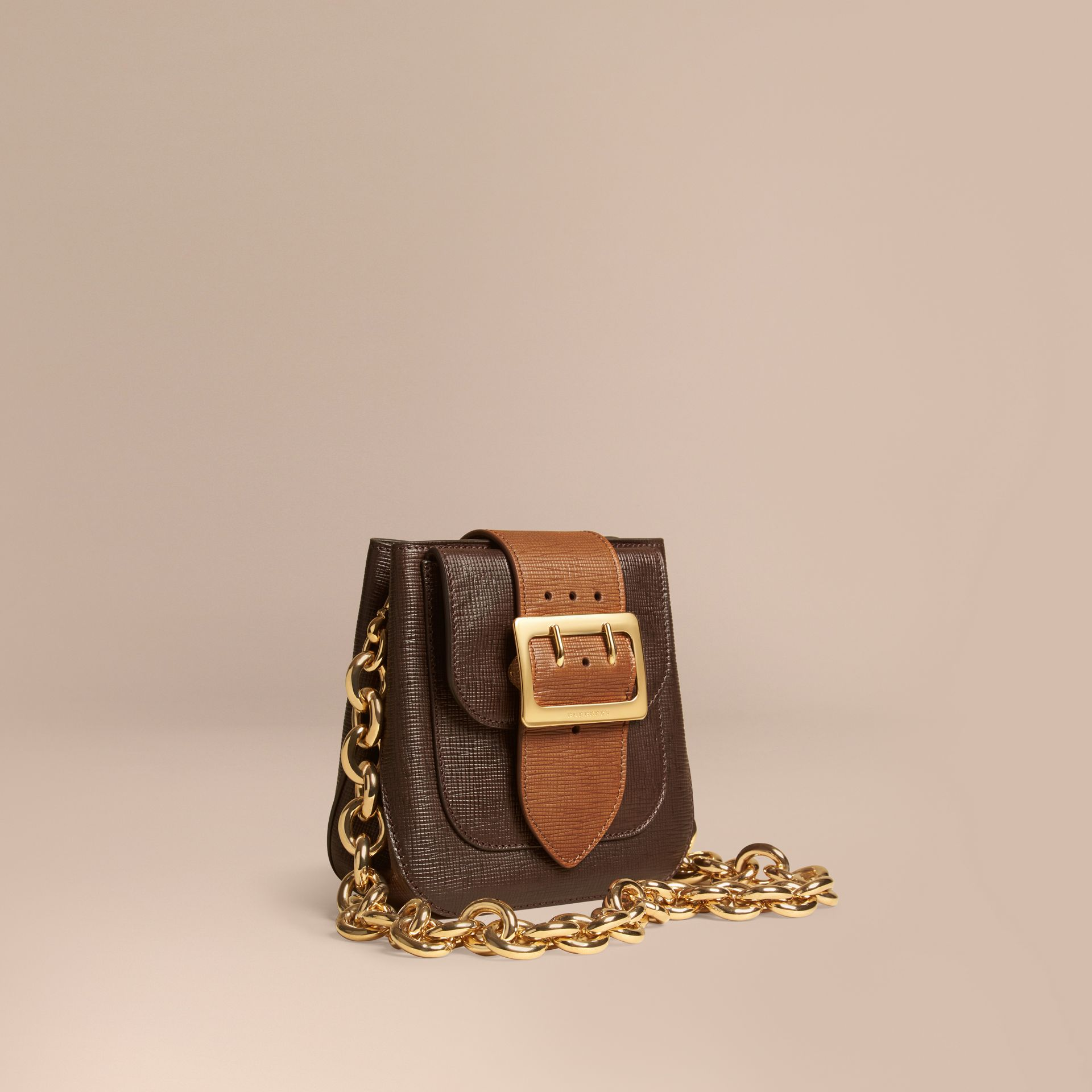 Dark clove brown The Small Square Buckle Bag in Textured Leather - gallery image 1