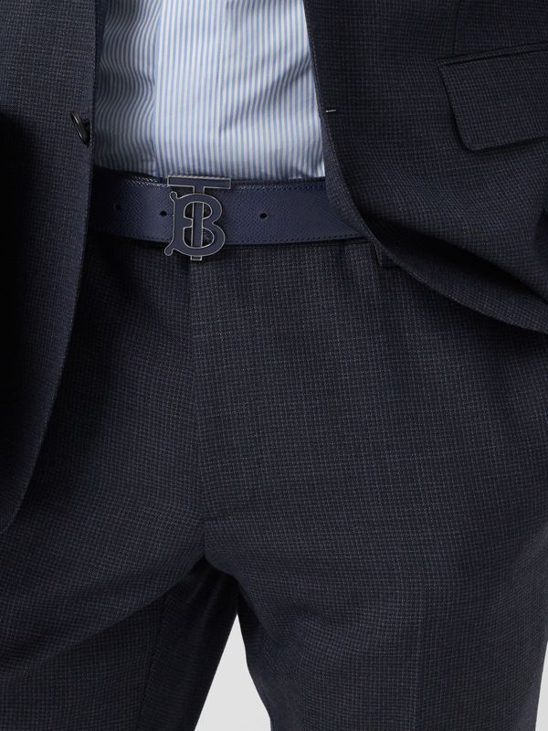 Monogram Motif Grainy Leather Belt in Navy - Men | Burberry United Kingdom - cell image 2