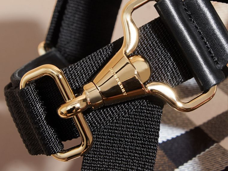 House Check Strappy Sandals with Hardware Detail in Black - Women | Burberry Hong Kong - cell image 1