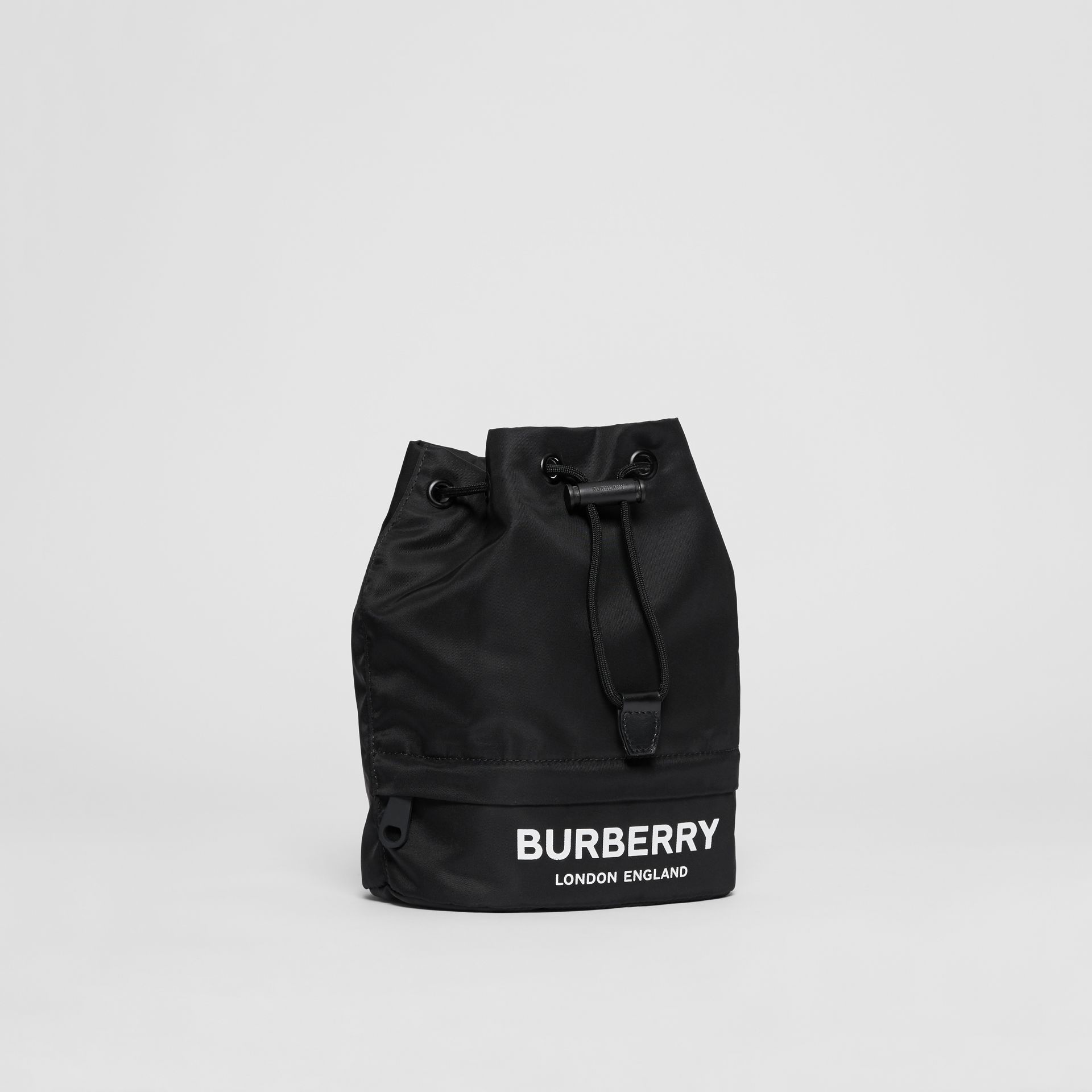 Logo Print Nylon Drawcord Pouch in Black - Women | Burberry - gallery image 4