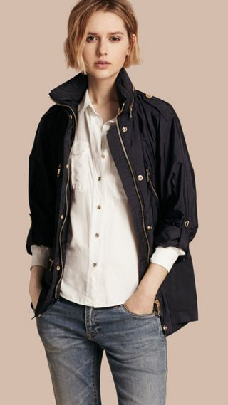 Showerproof Parka Jacket with Packaway Hood