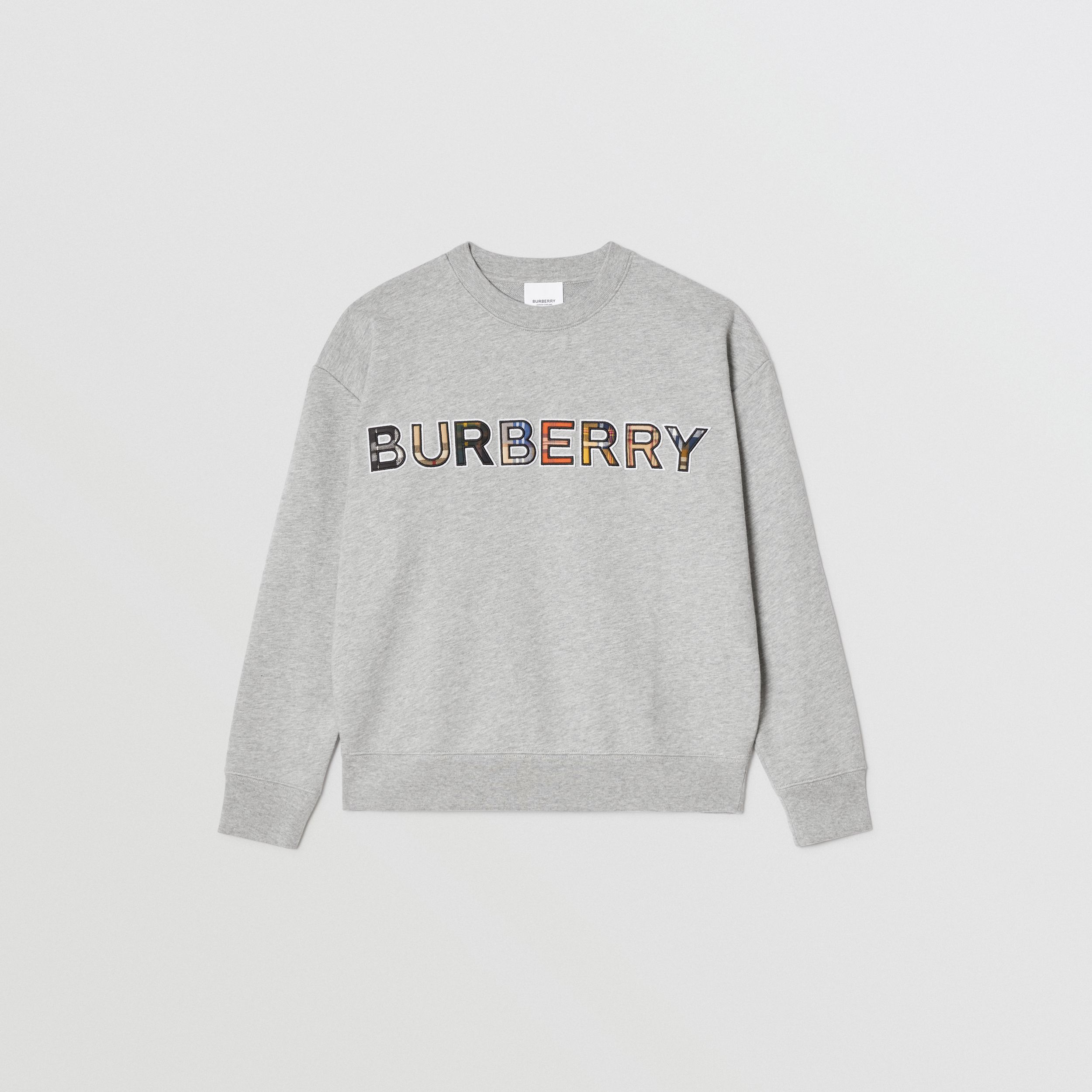 Check Logo Cotton Sweatshirt in Grey Melange | Burberry - 1