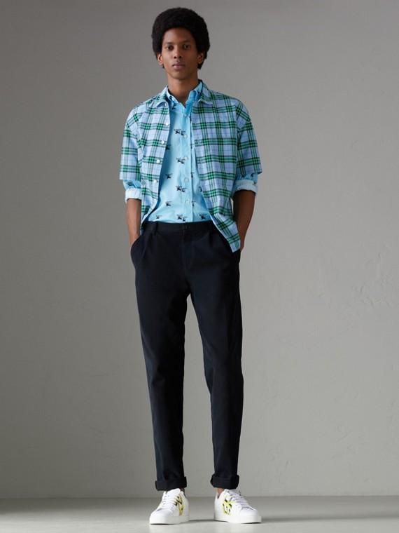 Camisa xadrez de algodão com mangas curtas (Azul Topázio)