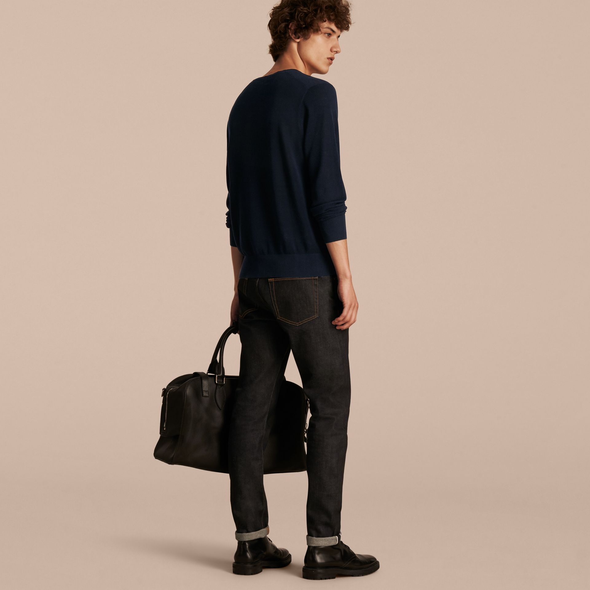 Crew Neck Textured Cotton Sweater - Men | Burberry Australia - gallery image 3