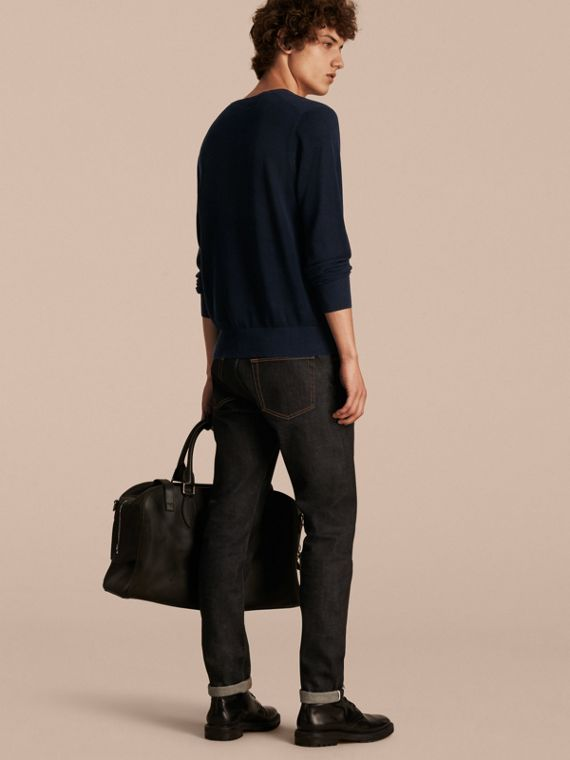 Crew Neck Textured Cotton Sweater in Navy - Men | Burberry - cell image 2