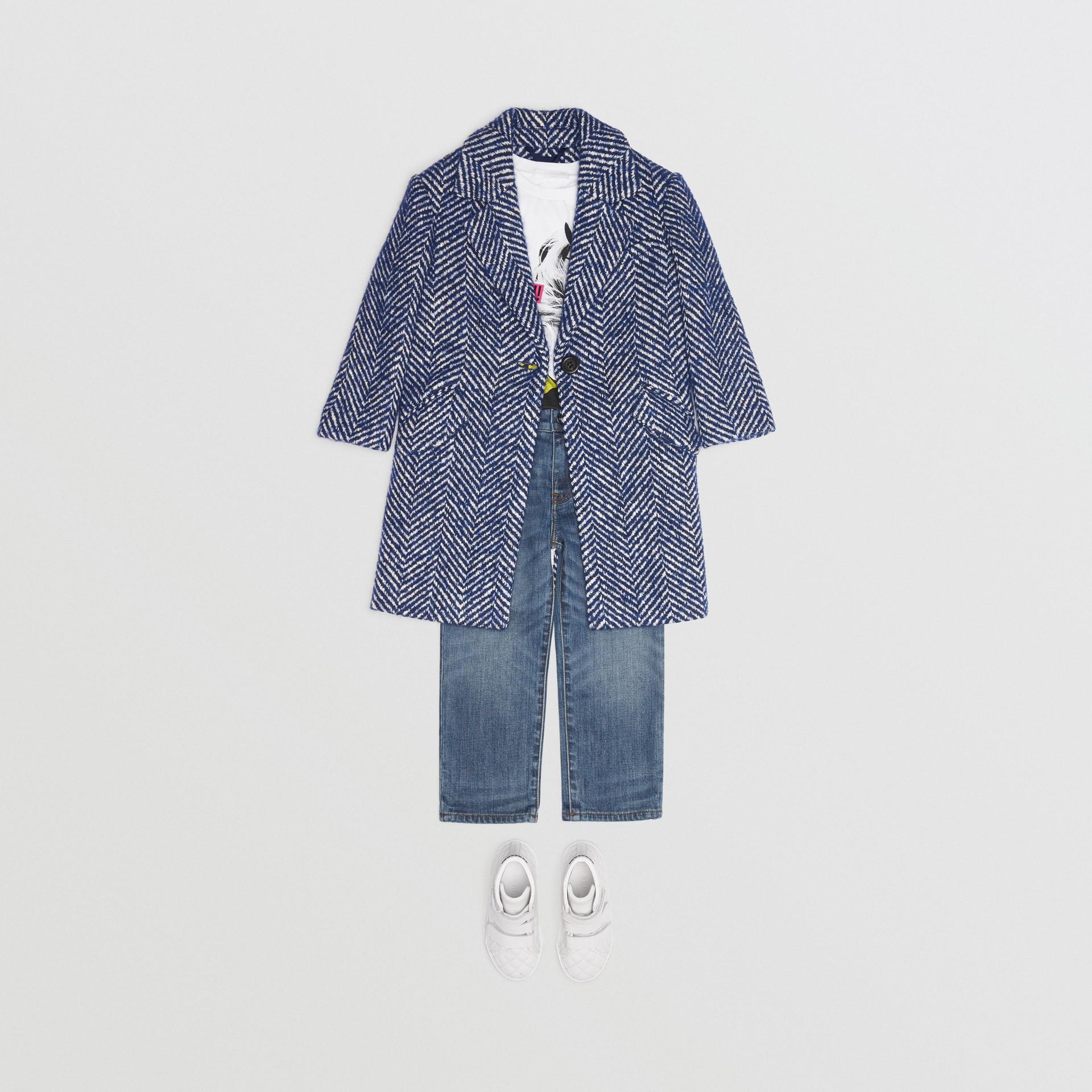 Herringbone Wool Cotton Blend Tailored Coat in Navy - Children | Burberry - gallery image 2