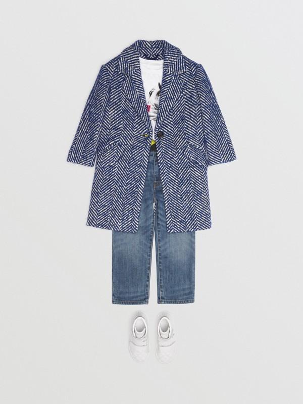 Körperbetonter Mantel aus Wolle und Baumwolle mit Fischgrätmuster (Marineblau) | Burberry - cell image 2