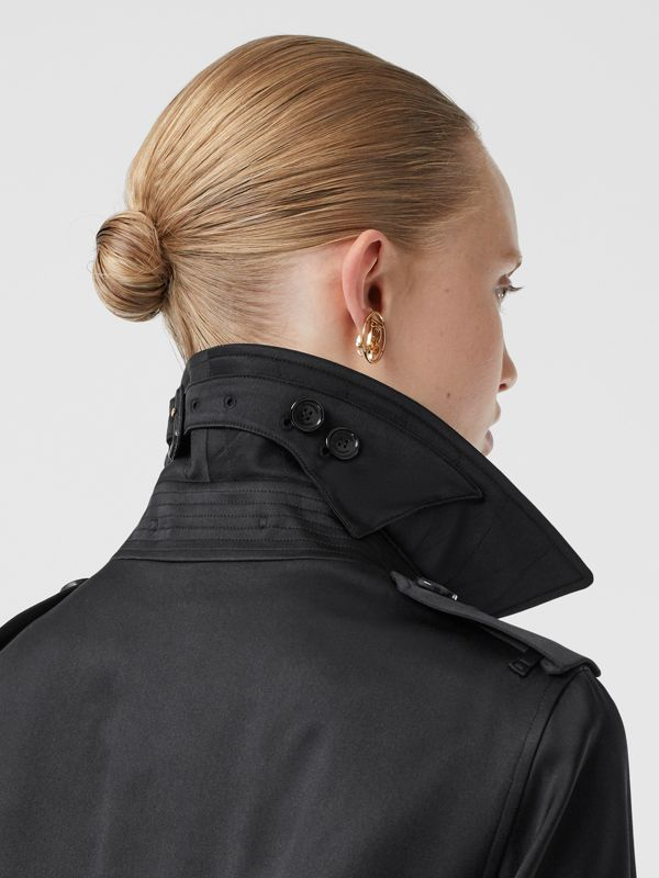 Silk Satin Trench Coat in Black - Women | Burberry - cell image 3