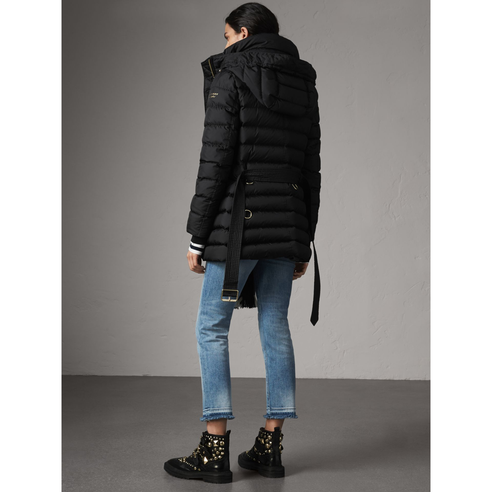 Hooded Down-filled Puffer Jacket in Black - Women | Burberry - gallery image 2