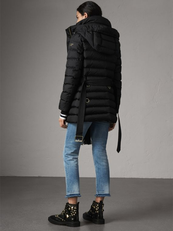 Hooded Down-filled Puffer Jacket in Black - Women | Burberry - cell image 2