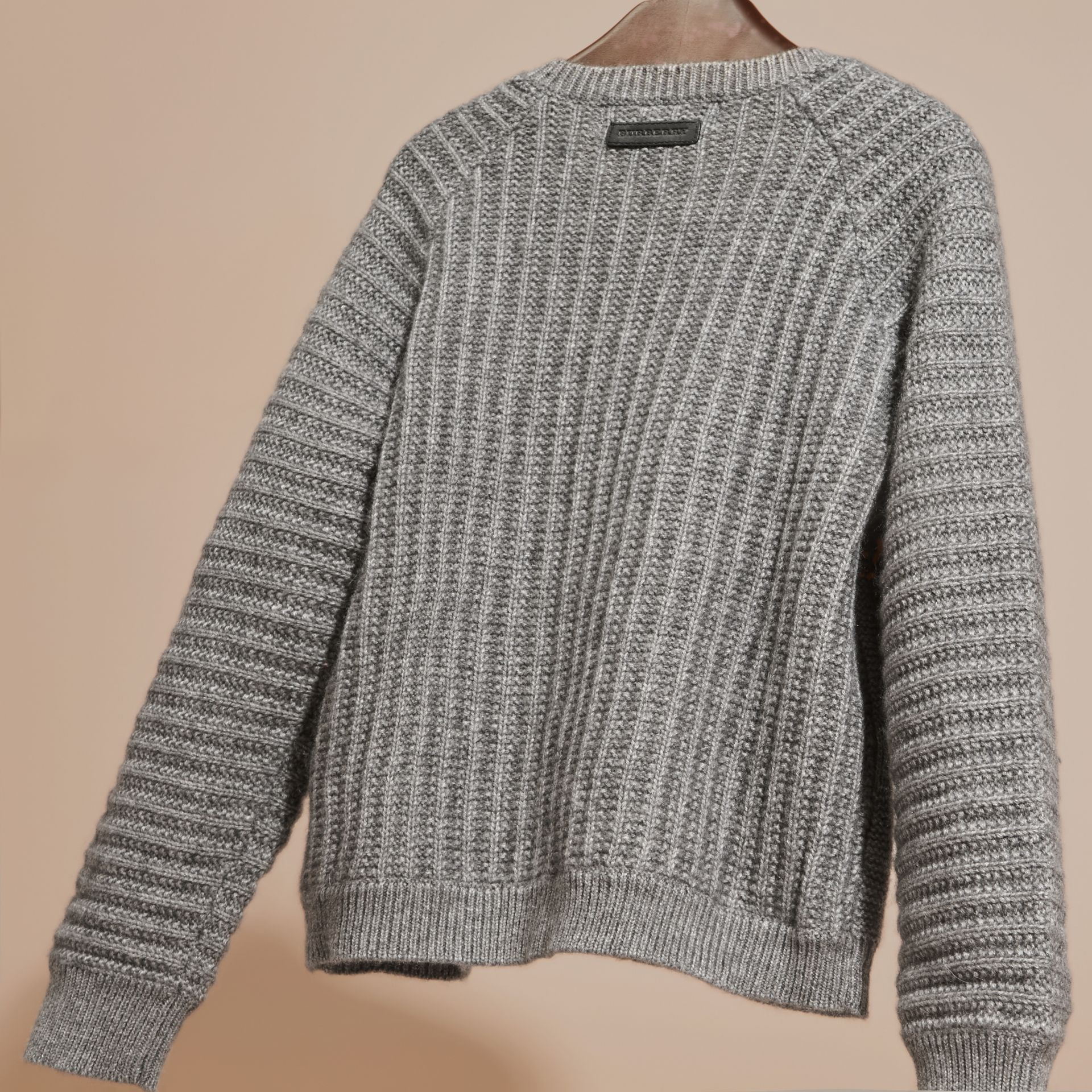 Mid grey melange Multi-stitch Cashmere Cotton Cardigan - gallery image 4