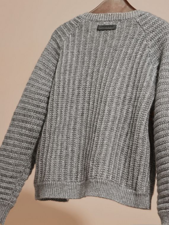 Mid grey melange Multi-stitch Cashmere Cotton Cardigan - cell image 3