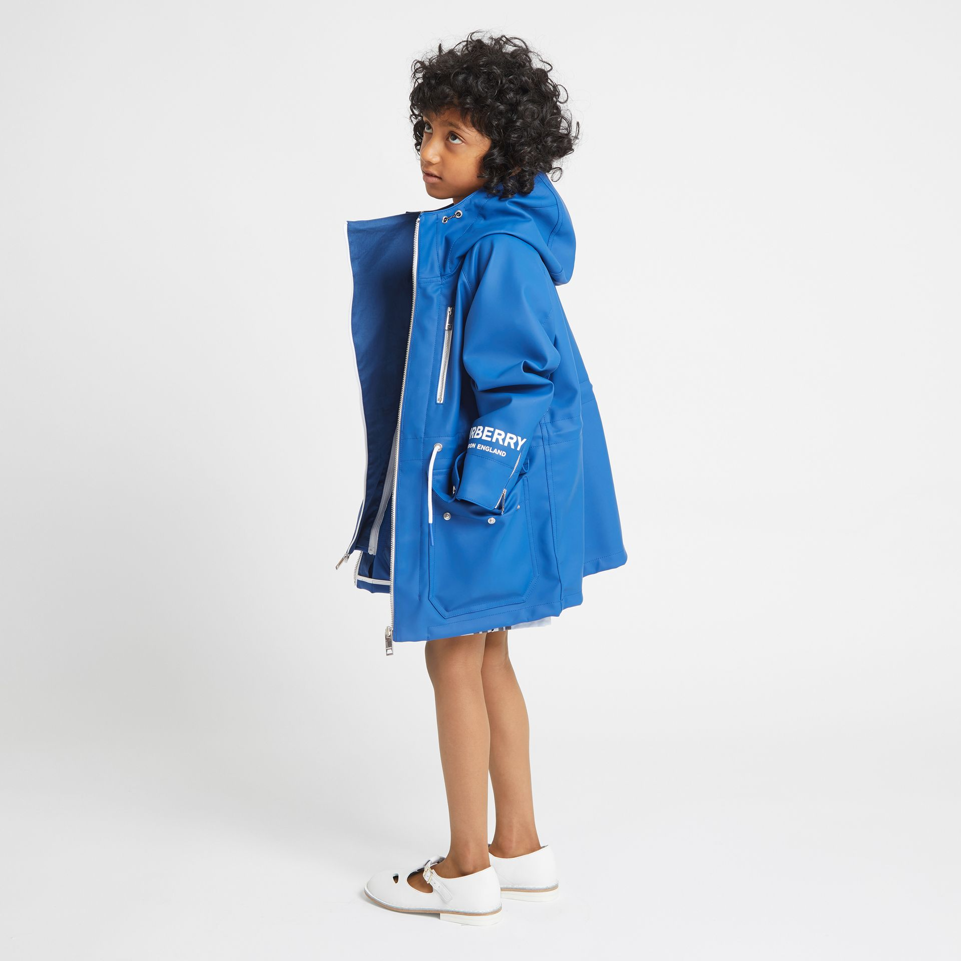 Logo Print Showerproof Hooded Jacket in Imperial Blue - Children | Burberry - gallery image 2