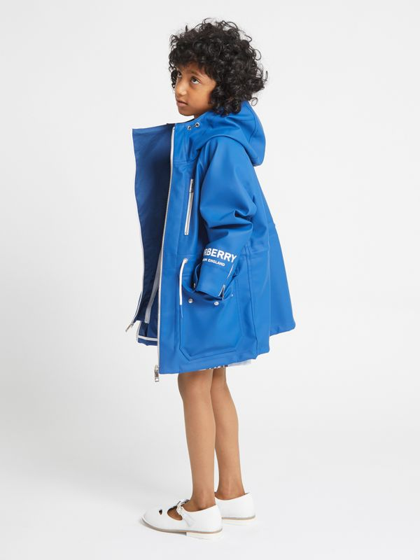 Logo Print Showerproof Hooded Jacket in Imperial Blue - Children | Burberry - cell image 2