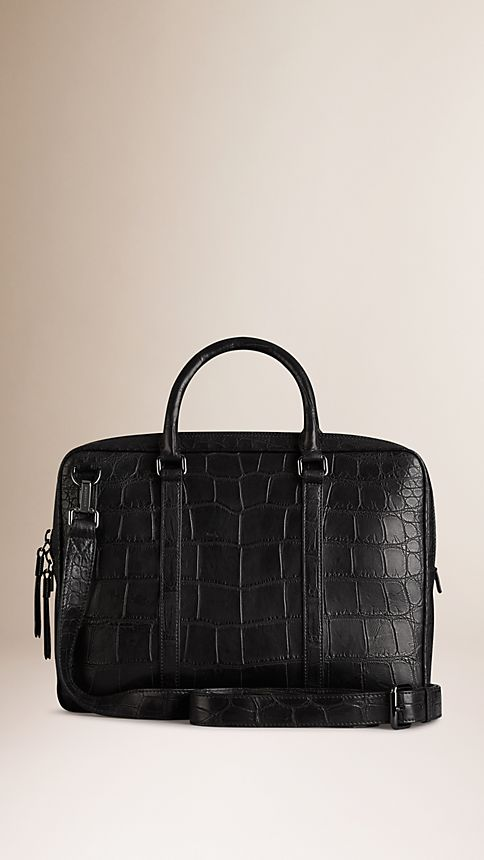 Black Alligator Leather Crossbody Briefcase - Image 3