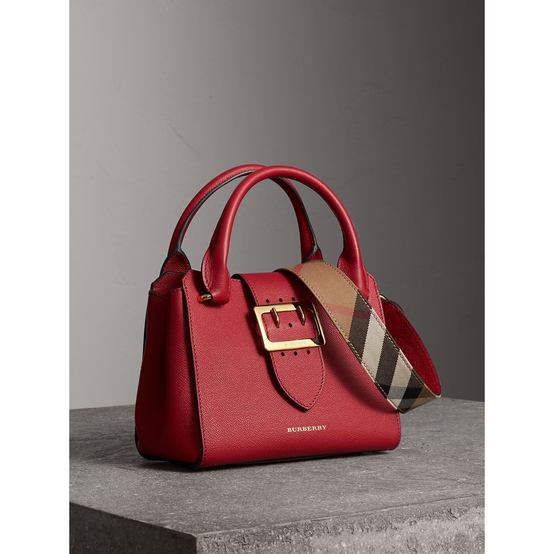 The Small Buckle Tote in Grainy Leather in Parade Red - Women | Burberry United States - gallery image 6