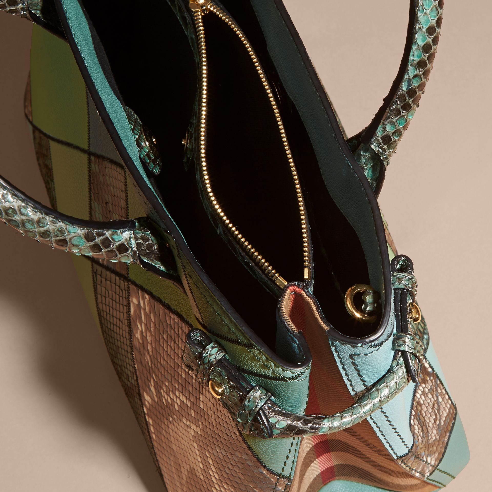 The Medium Banner in Patchwork Leather and Python Celadon Blue - gallery image 9