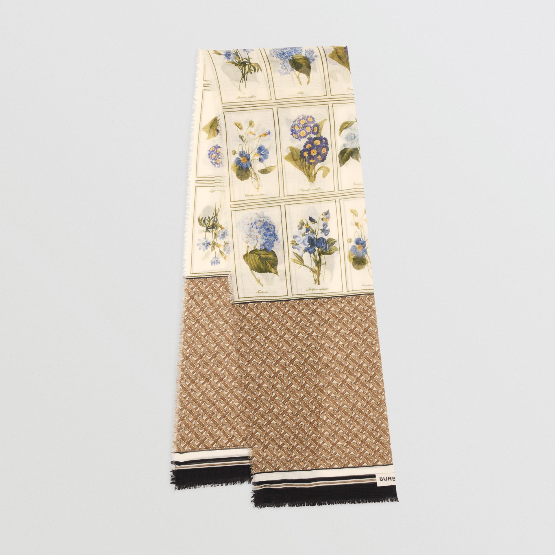 Botanical and Monogram Print Silk Wool Scarf in Archive Beige | Burberry - gallery image 0
