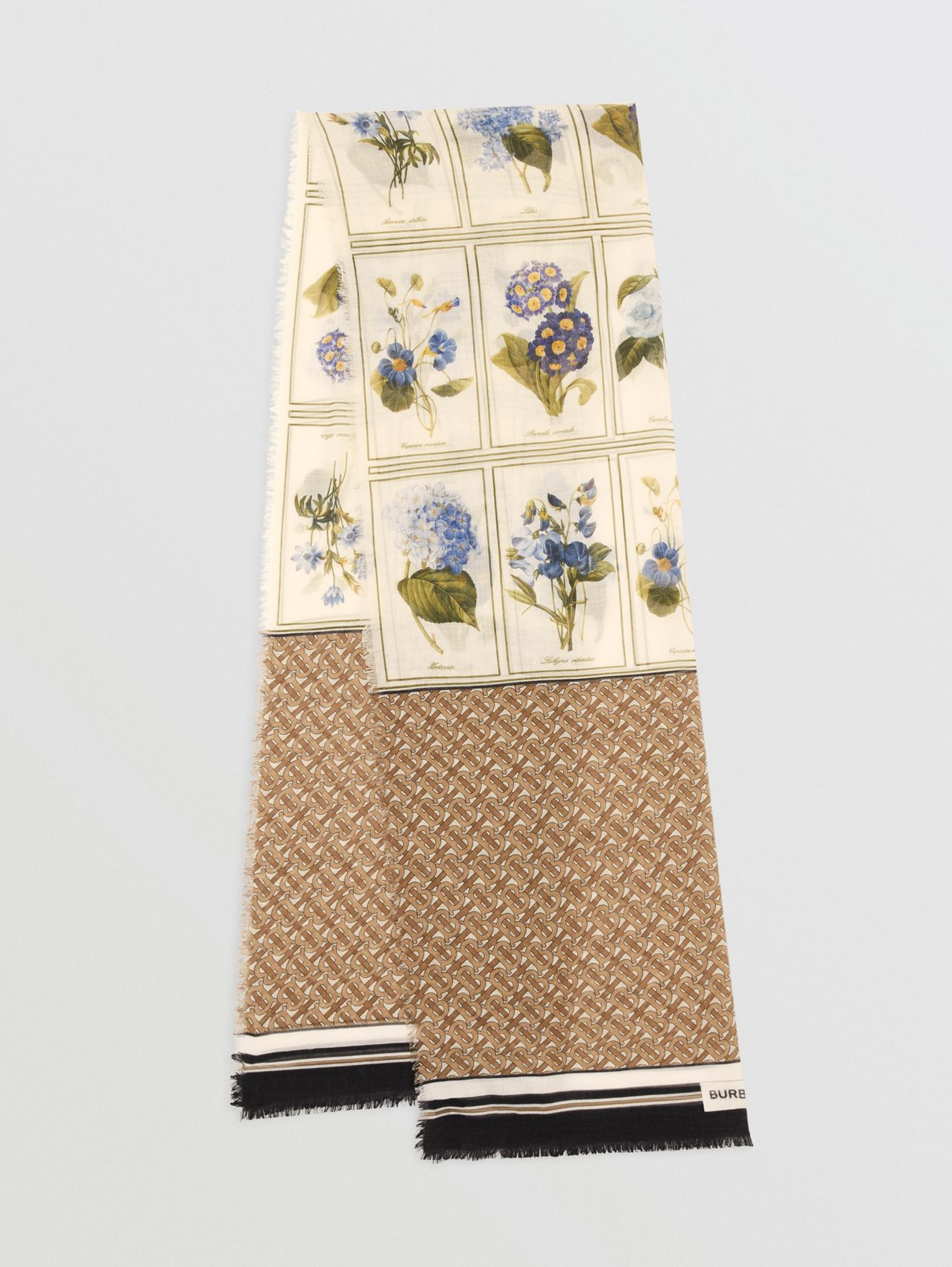 Botanical and Monogram Print Silk Wool Scarf in Archive Beige