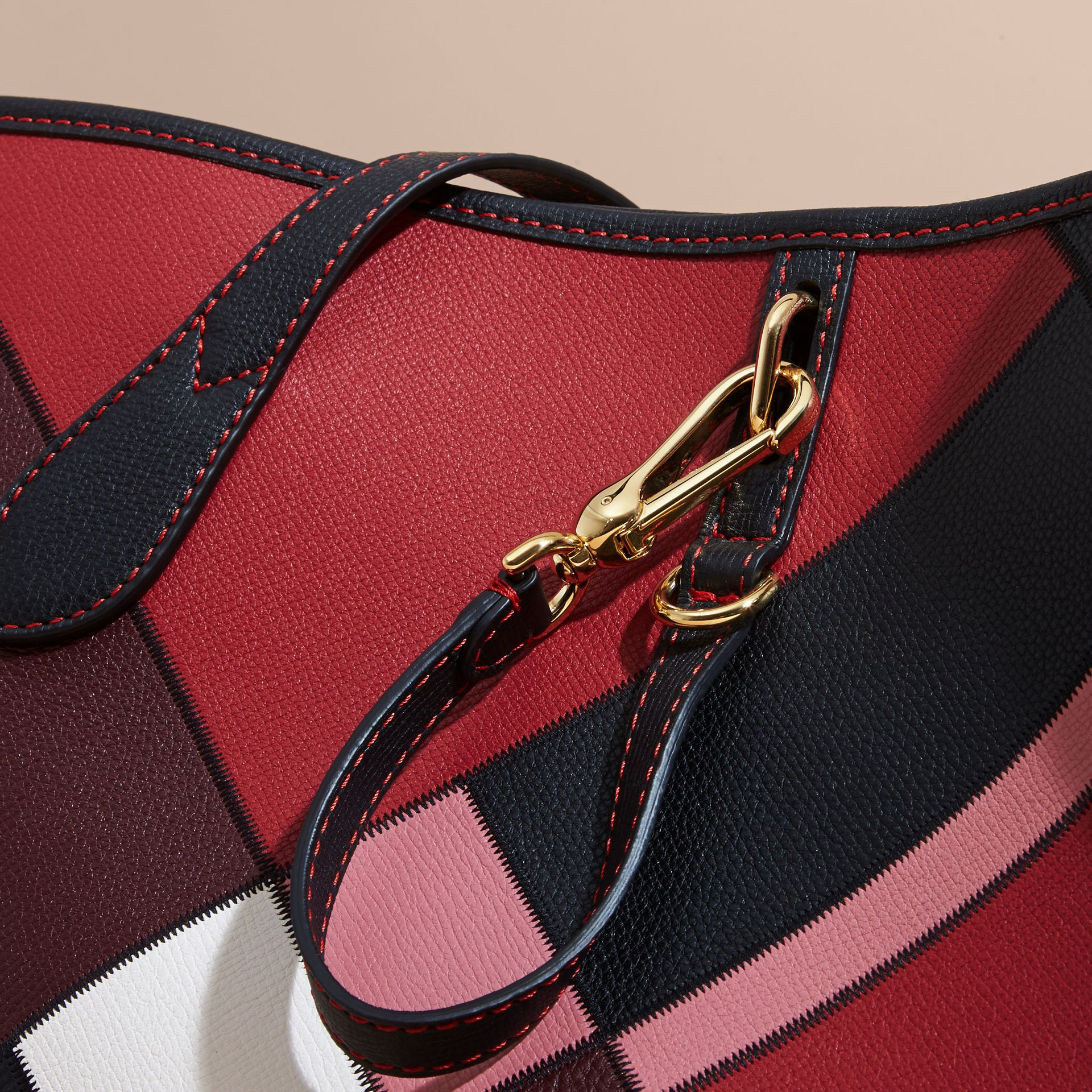 Medium Patchwork Grainy Leather Tote Bag in Pink - Women | Burberry - gallery image 2