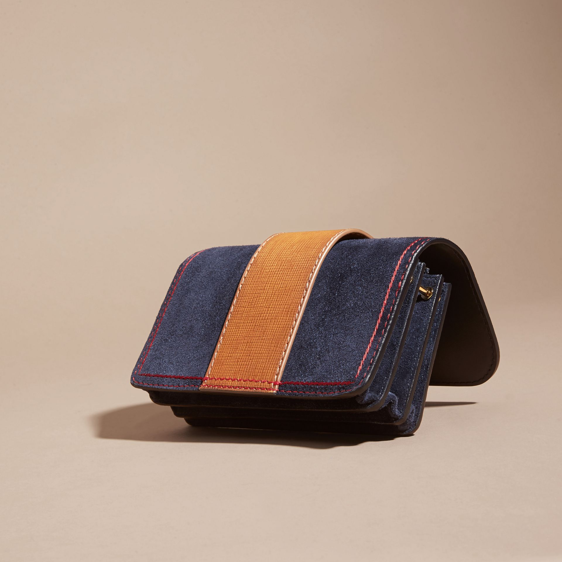 The Small Buckle Bag in Suede with Topstitching Ink / Tan - gallery image 5