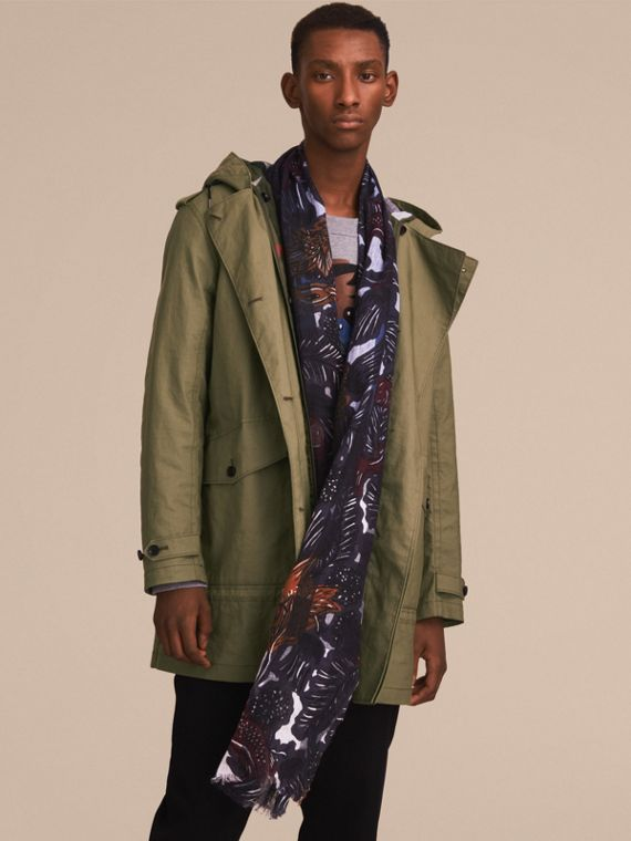 Beasts Print and Check Linen Scarf in Chalk Blue | Burberry - cell image 2