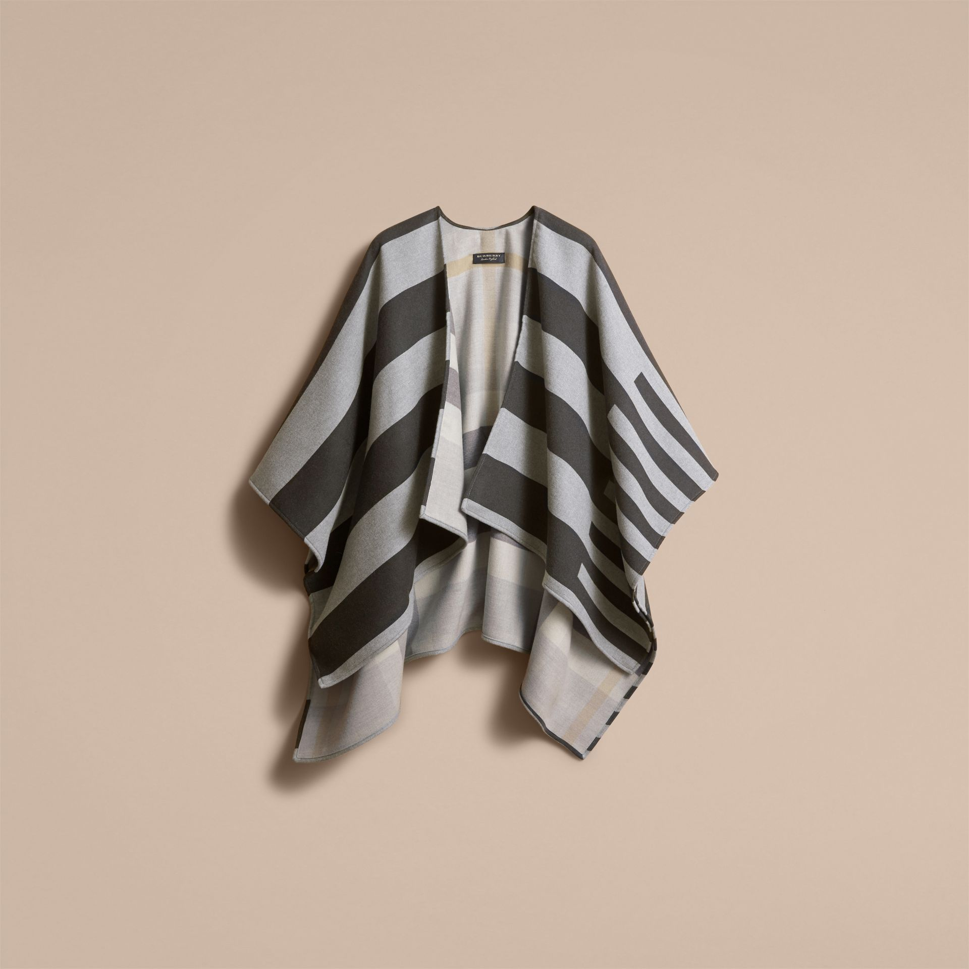 Reversible Stripe and Check Merino Wool Poncho in Grey - Women | Burberry - gallery image 4