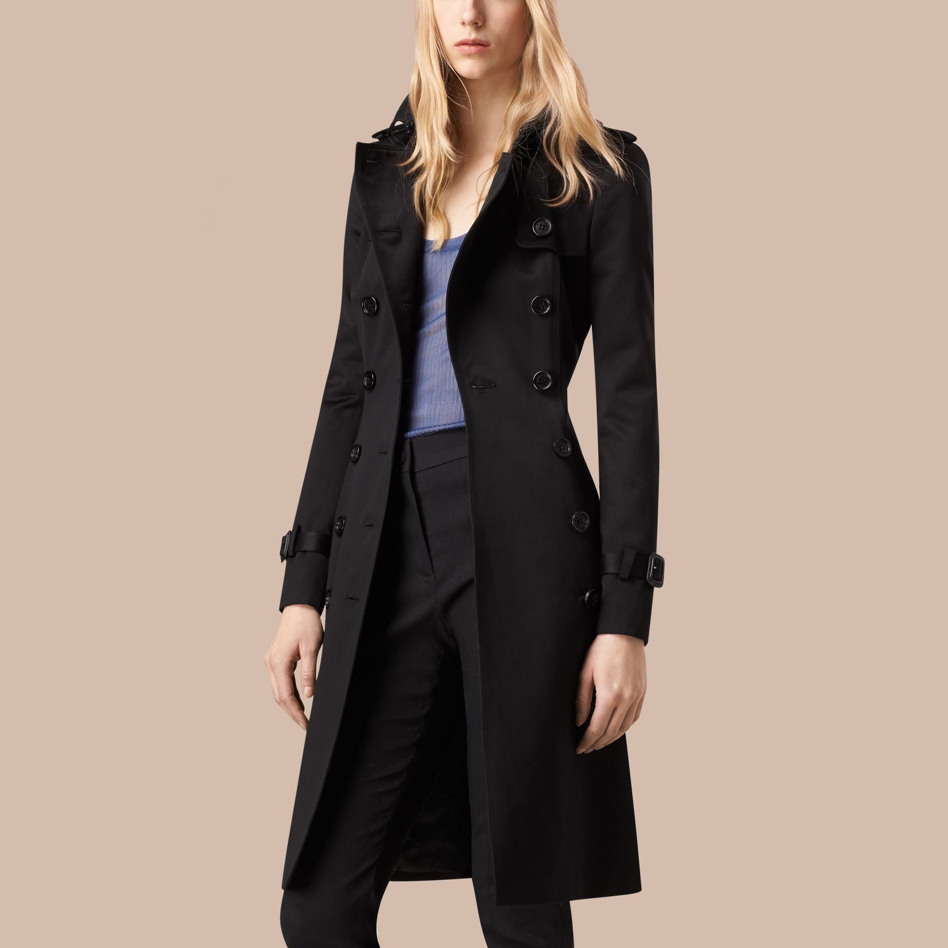Black Cotton Sateen Trench Coat - gallery image 4