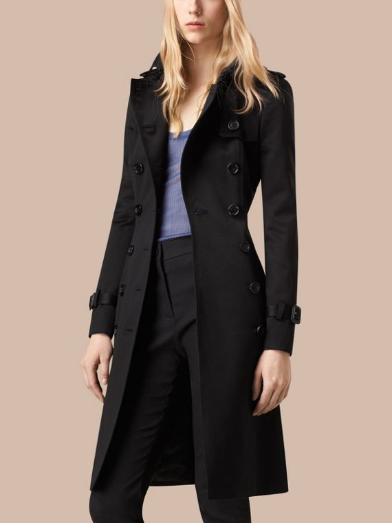 Black Cotton Sateen Trench Coat - cell image 3