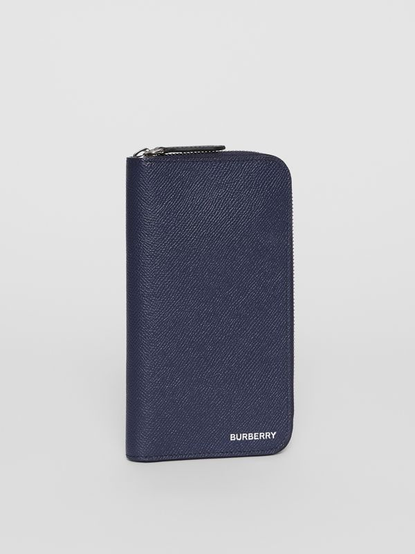 Grainy Leather Ziparound Wallet in Regency Blue - Men | Burberry - cell image 3
