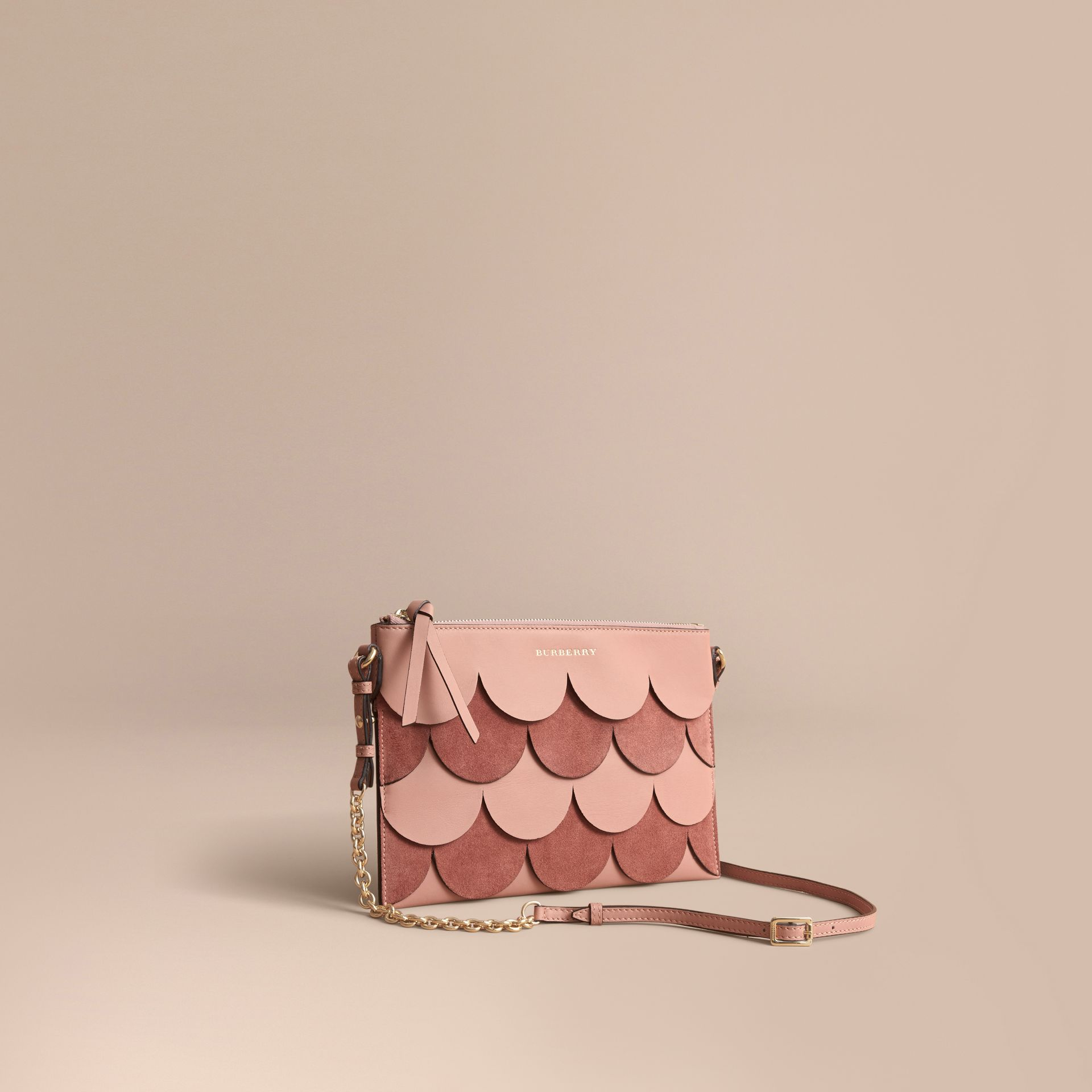 Two-tone Scalloped Leather and Suede Clutch Bag in Ash Rose - Women | Burberry Australia - gallery image 1