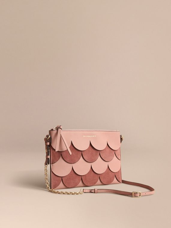 Two-tone Scalloped Leather and Suede Clutch Bag in Ash Rose