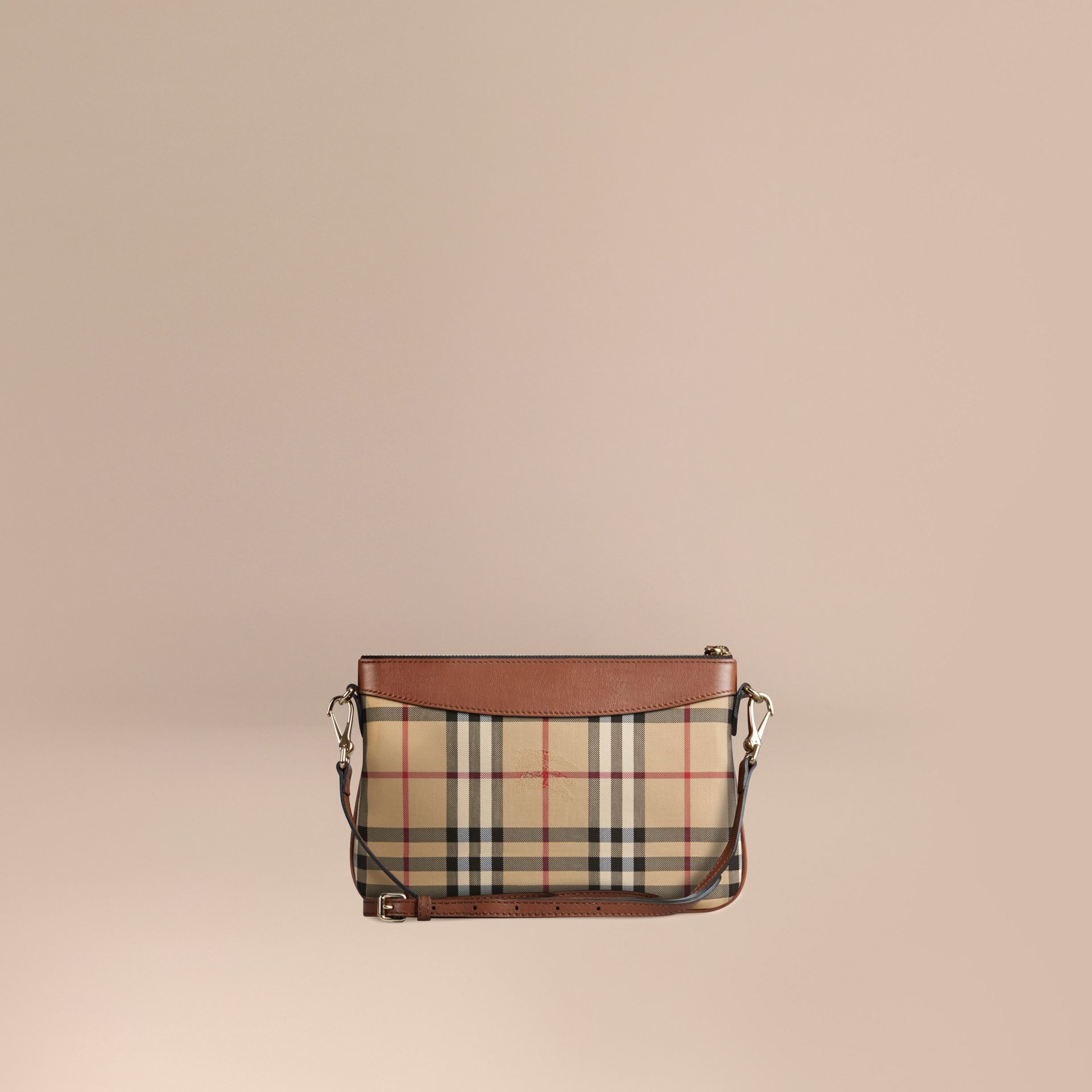 Tan Horseferry Check and Leather Clutch Bag Tan - gallery image 6